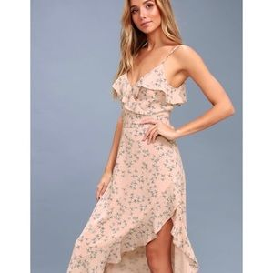 Lulu's Le Quartier Floral Print Ruffled Midi Dress